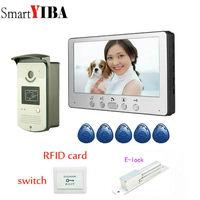 SmartYIBA 7 Color Video Door Phone Intercom Kit+5 RFID Access Camera 1 Monitor with Electric Control Lock Wholesale