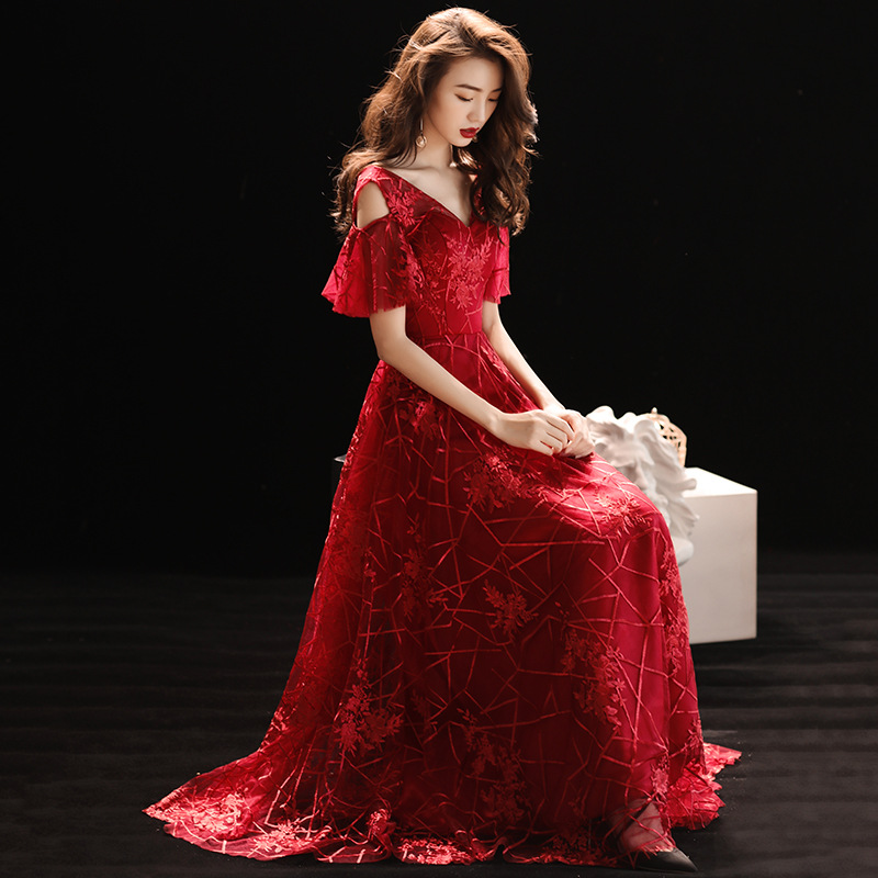 New Fashion   Evening     Dresses   Red Embroidery Formal Prom   Dress   Short-sleeves Lace up A-line Floor length V-neck Party Gowns E309