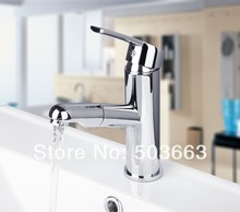 Мода оптом и в розницу хромированной латуни воды Мощность кухня краном Pull Out сосуд Раковина Смеситель MF-504