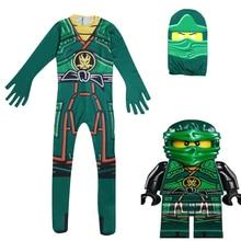 Купить с кэшбэком Ninjago Cosplay Costume Kids Boys Sets Skull Trooper Costume Halloween Christmas  Dress Ninja Cosplay Superhero Jumpsuits Suits