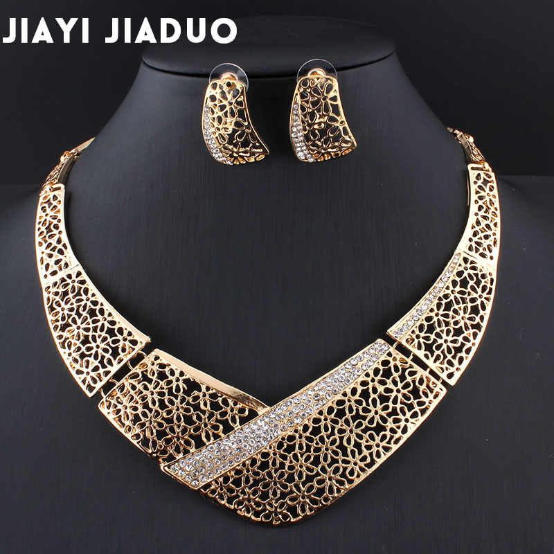 jiayijiaduo african beads jewelry set Bisuteria Jewellery Parure bijoux femme Wedding jewelry Nigerian set for women Necklace