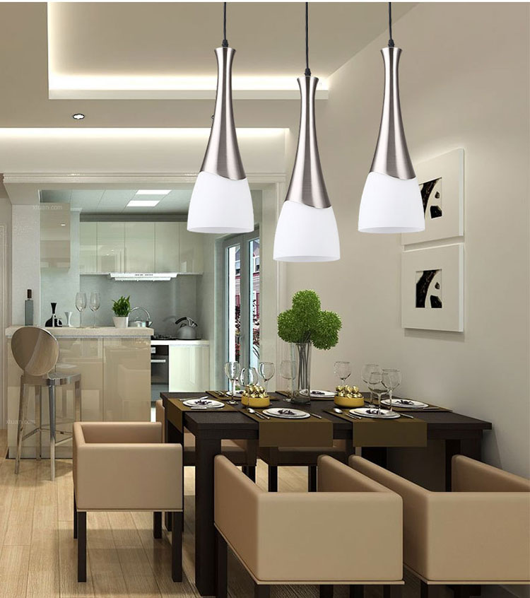 Metal Glass Hanging Light E27 Bulb LED Pendant Chandelier Lamp White Dining 3