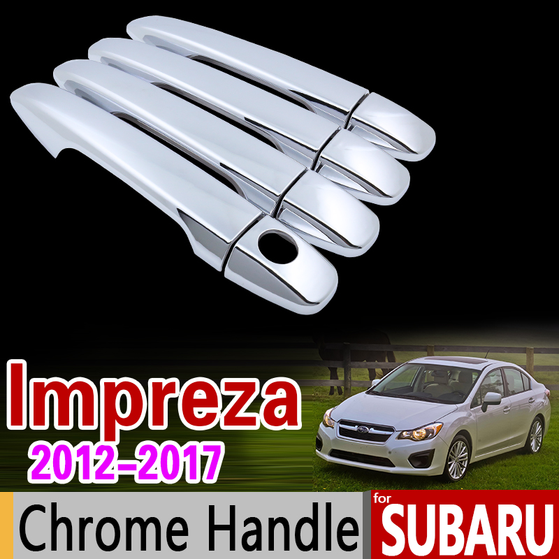 for Subaru Impreza 2012 - 2017 Chrome Handle Cover Trim Set 2013 2014 215 2016 GJ GP G4 WRX STI Accessories Stickers Car Styling car auto accessories rear trunk trim tail door trim for subaru xv 2009 2010 2011 2012 2013 2014 abs chrome 1pc per set