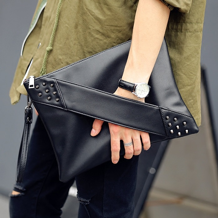 Women handbag Soft PU Leather Fashion Rivet bag Handbag with Shoulder Strap Crossbody Bag Forest