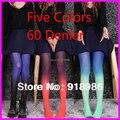 2016 de moda de nova mulheres Harajuku cores gradiente tatuagem calças justas 60 Denier meias calça de veludo atacado