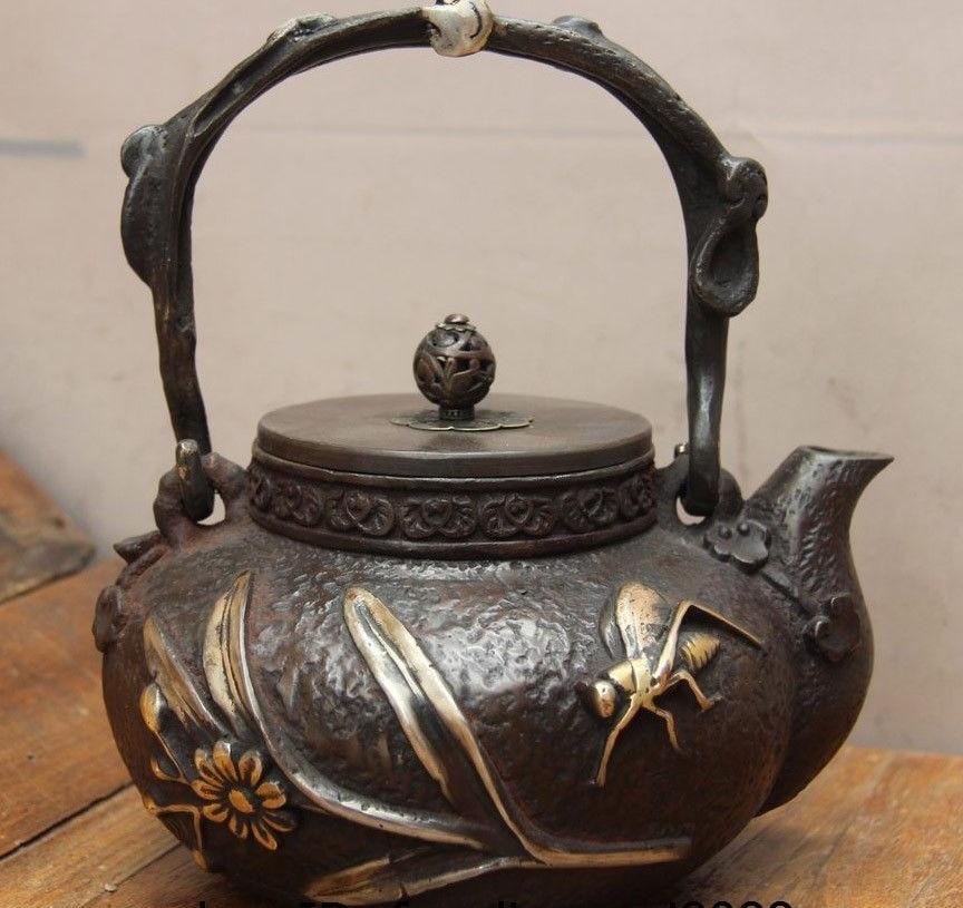 Arcaica Giapponese di Ferro Argento Dorato Grasshopper Insetto Boccale Bollitore Vino Tea PotArcaica Giapponese di Ferro Argento Dorato Grasshopper Insetto Boccale Bollitore Vino Tea Pot