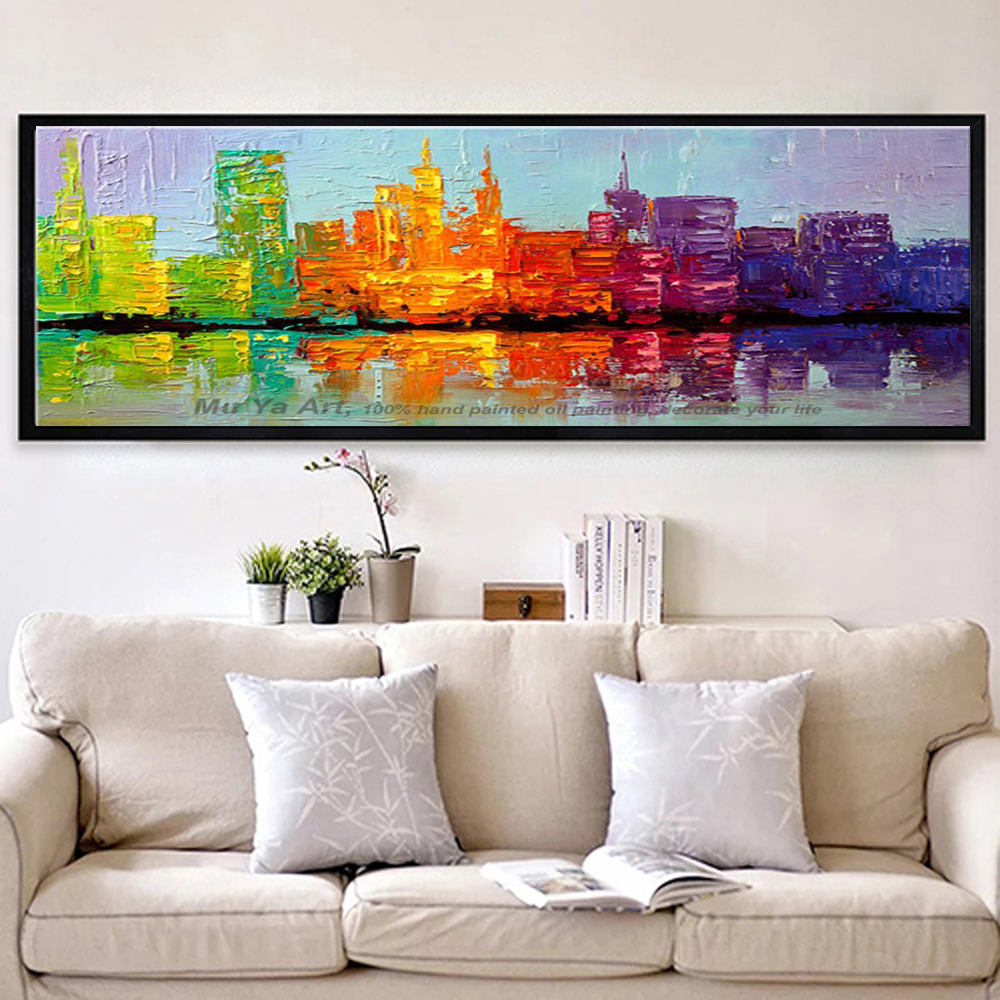 Wall painting styles - Fashion Home Design 2016 Modern City Large Canvas Wall Art Decorative Acrylic Picture Abstract Oil Painting For Living Room Wall