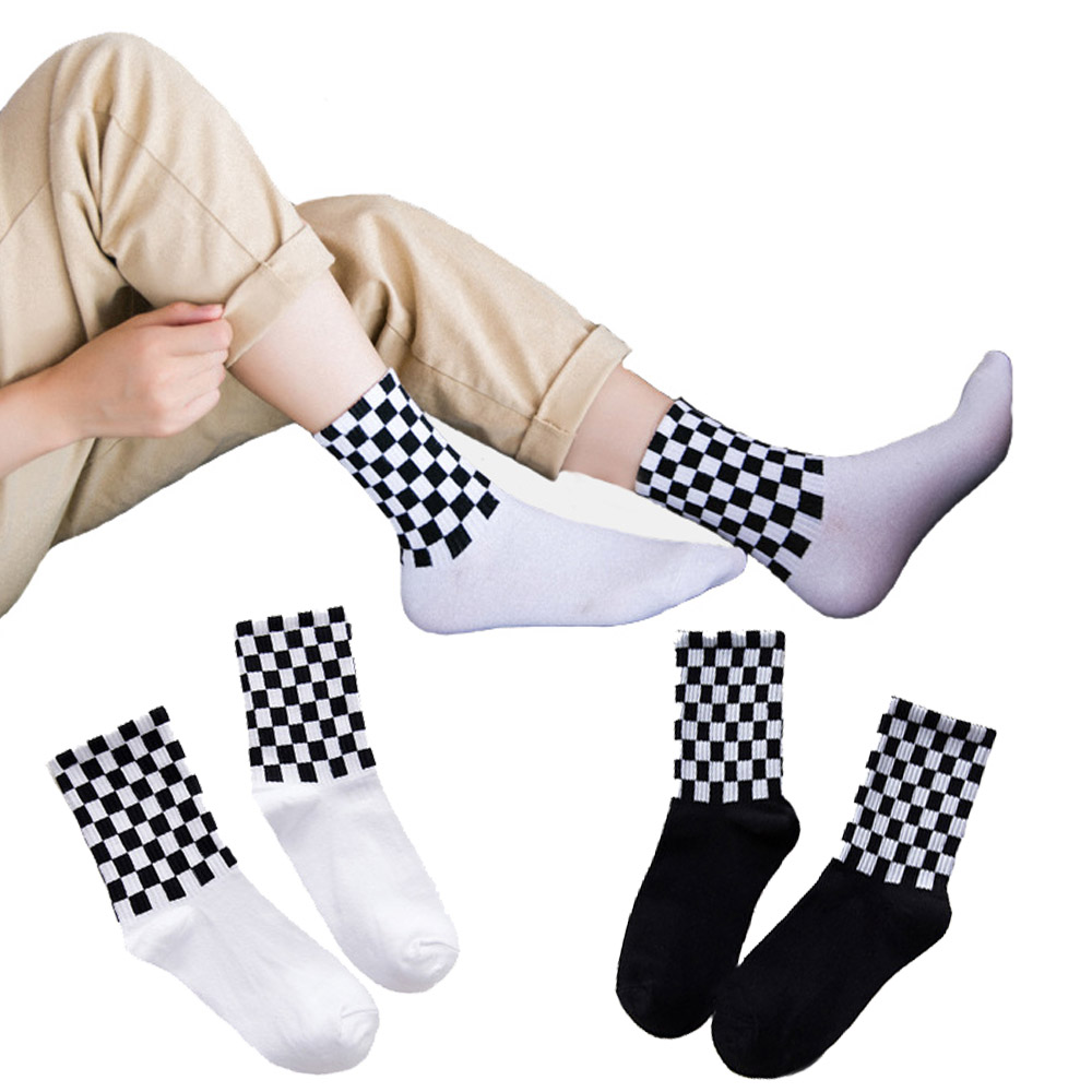 New Fashion Hot Japanese Korean Style Black White Houndstooth Lattice Socks Women Classic Hip Hop Street Harajuku Women Socks Socks