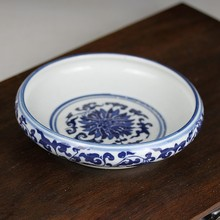 Jingdezhen blue and white porcelain is the tortoise goldfish in the shallow water of blue and white porcelain ashtray
