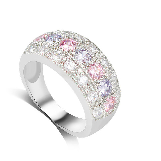 Hot Sell 3 Colors Mixe imitated Crystal silver rings New Unique Design anel Enga