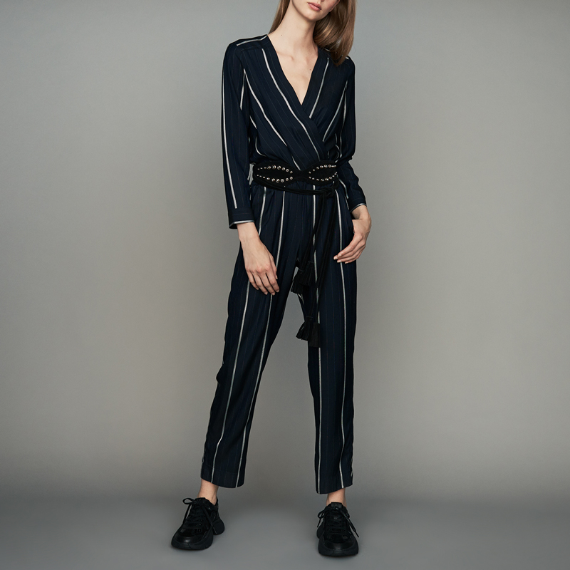 Women Pants 2019 Spring and Summer New Contrast Stripe V-neck Slim Long Sleeve Jumpsuit