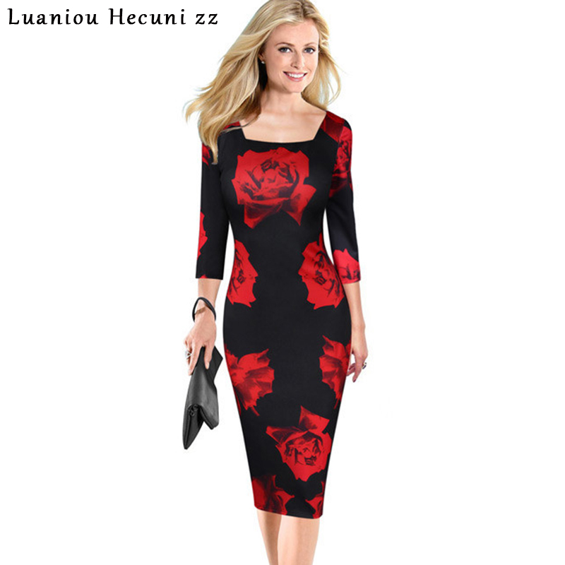 Chu Ni Womens Elegant Vintage Flower Floral Print Square Neck Casual Party Evening Special Occasion Pencil Sheath Dress M060