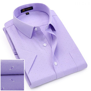 Image 5 - Summer turndown collar short sleeve oxford fabric soft print business men smart casual shirts with chest pocket S 4xl 8color