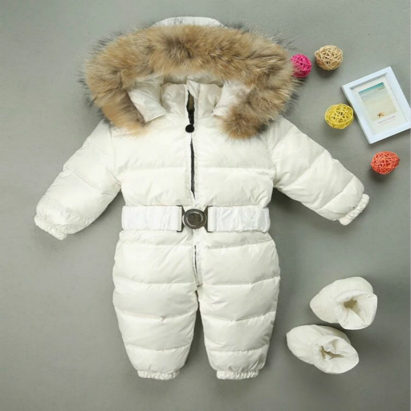 Mioigee children winter Jumpsuit duck down baby Rompers fur infant girls boys Overalls hooded kids snowsuits warm baby clothes christmas 2017 brand new winter newborn infantil baby rompers kid boys and girls clothing real fur jumpsuit down overall jacket