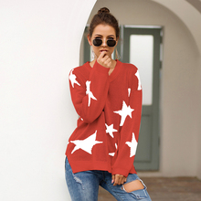 Missufe 3 Colors Star Print Sweaters Women Autumn Winter Split Side Jumpers Loose Vintage Knitted Warm Lazy Style Femme