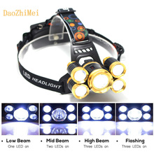 LED Headlamp 15000LM CREE 3T6/5T6 Chips Headlight Rechargeable Zoom Head Light Flashlight Hunting 18650 Battery