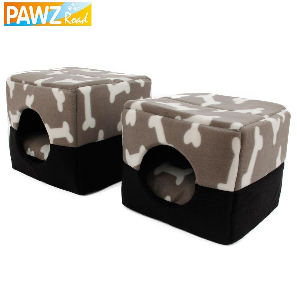 PAWZRoad Pet Dog House Kennel Bone Pattern Dog Sofa Soft Warm Pet Funny Bed Dog Cushion Puppy Sofa 3 Ways Use High Quality