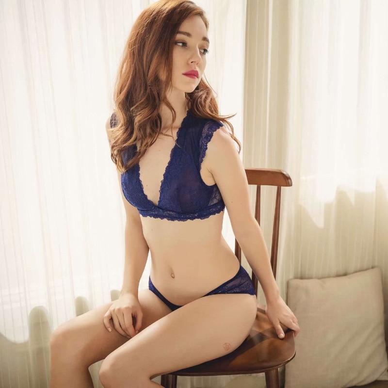 New Lace Ultra Thin Comfortable Hollow Out Breathable Bra Set Brassiere Deep V Women Bras Lingerie Set Sexy Underwear in Bra Brief Sets from Underwear Sleepwears