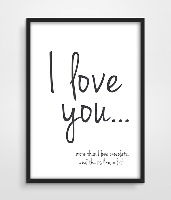 Print I Love You More Than Chocolate Funny Quote Valentines Day Gift