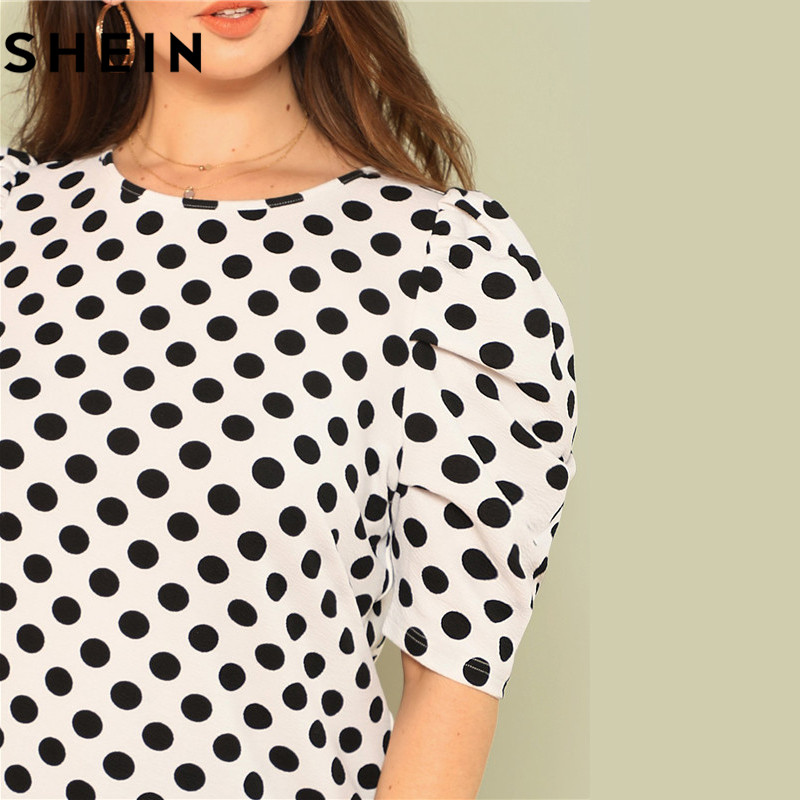 SHEIN Black And White Polka Dot Puff Sleeve Round Neck Plus Size Tops 2018 Summer Casual Office Lady Half Sleeve Elegant Blouses 3