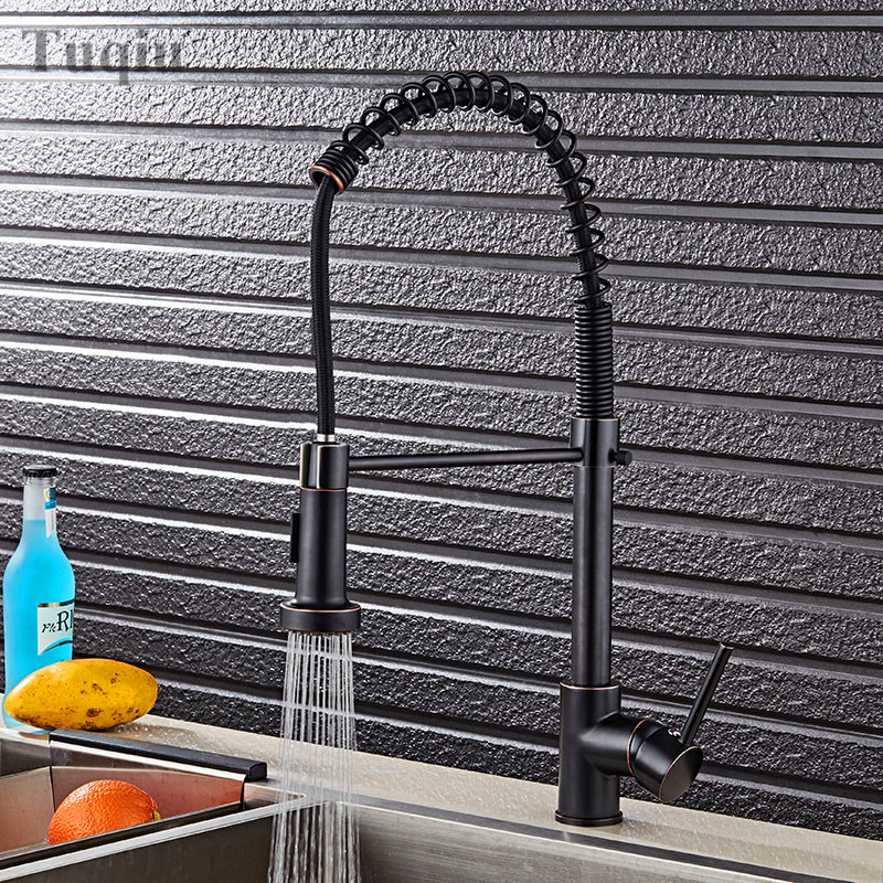 Deluxe black/nickel/chrome pull-down kitchen tap to arrive at the solid brass faucet to pull out spray mixer tap water tap xueqin stylish kitchen water tap swivel pull out spray mixer solid brass chrome faucet easy to install hot sale