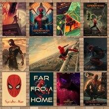 Avengers poster Spiderman movie vintage kraft paper bar bedroom decorative paintingsticker