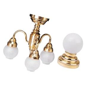 Image 1 - Миниатюрный металлический настенный светильник в масштабе 1:12 для кукольного домика, модель лампы и шарообразный потолочный светодиодный светильник с батареей
