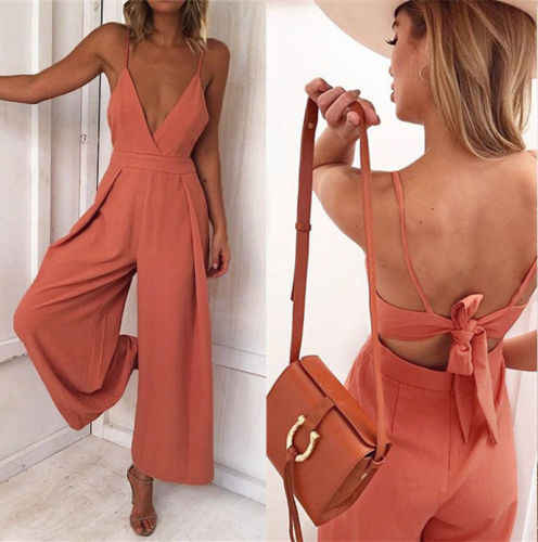 3ead300fa2 Detail Feedback Questions about Ladies Women Summer Jumpsuit Sleeveless V  neck Strap High Waist Clubwear Wide Leg Pant Summer Outfits Playsuit on ...