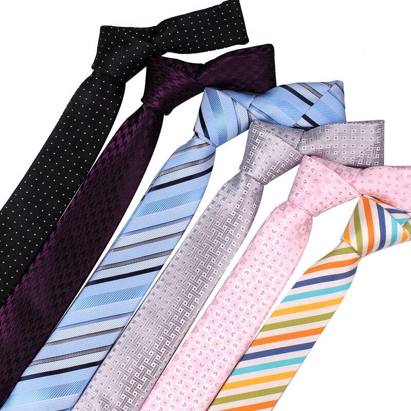 Striped Neck Ties For Men 5cm Width Skinny Neckties For Wedding Suits Polyester Gravatas Business Corbatas Plaid Men Ties