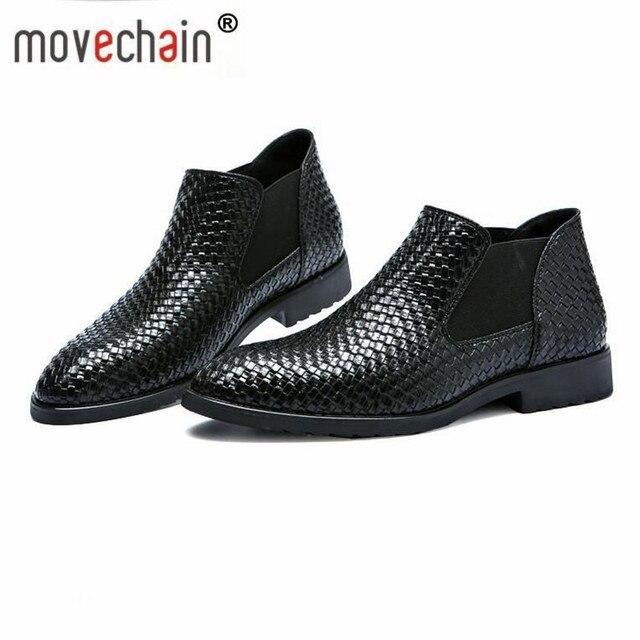 Movechain Người Đàn Ông của Dệt Hạt Da Chelsea Khởi Động Người Đàn Ông Chỉ Toe Thời Trang Khởi Động Mắt Cá Chân Giày Căn Hộ Kích Thước EU 38- 48
