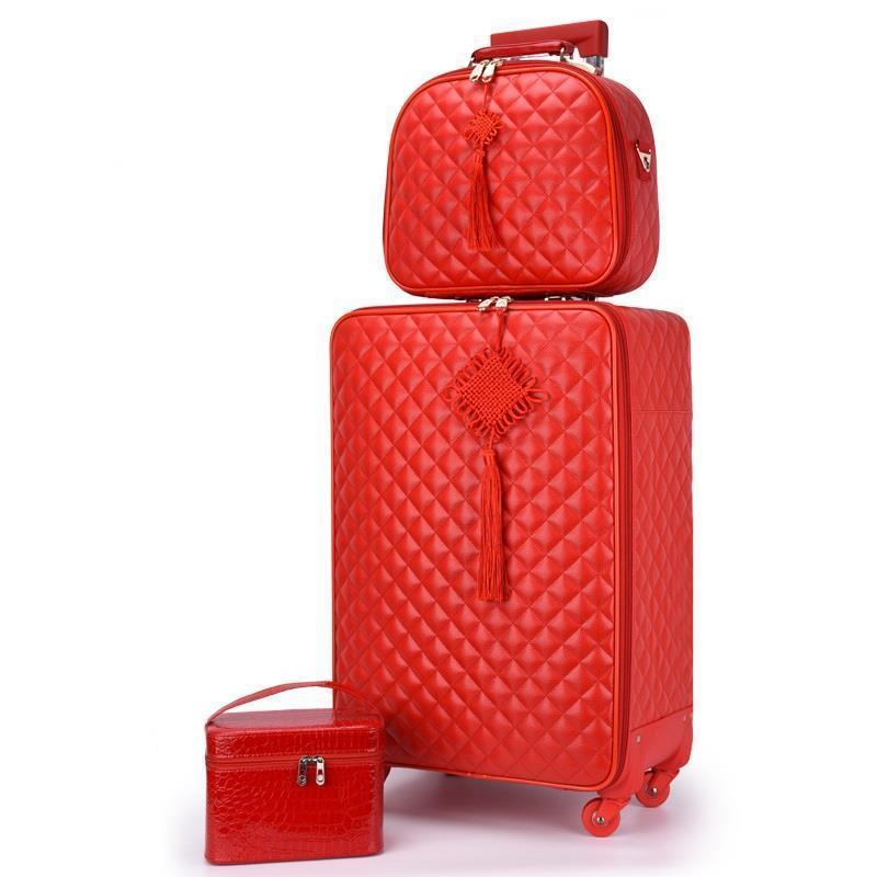 Red Suitcase Wedding Trolley Case Woman Luggage Bride Dowry Box Classic Travel Suitcase Set Spinner Wheel Carry On Luggage Bags