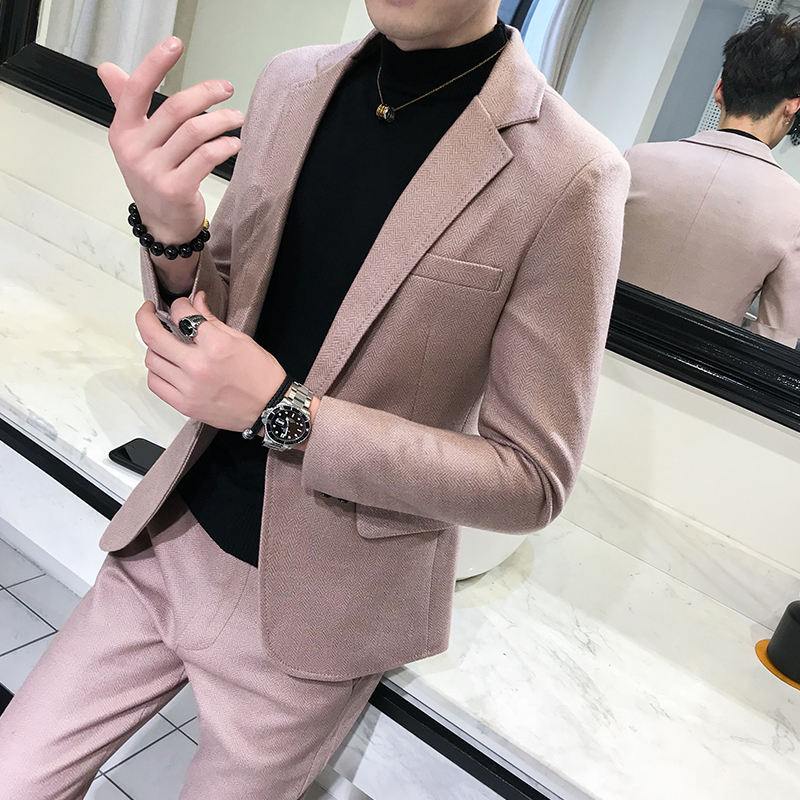 Pure Color Young Men Dress Sets Classic Slim Design Men Jacket and Pants Asian Size S M L XL XXL Men 2Piece Set
