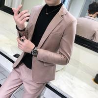 Pure Color Young Men Dress Sets Classic Slim Design Men Jacket and Pants Asian Size S M L XL XXL Men 2Piece Set