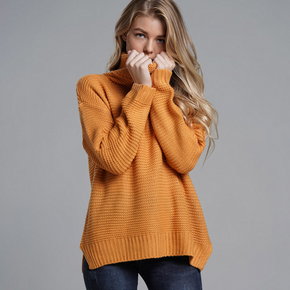 Turtleneck Simple Knitted Sweaters Women 2019 New Fall Mid-Length Pullover Warm Knitwear Office Lady Loose Winter Casual Sweater