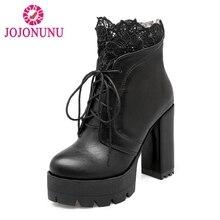 JOJONUNU Размеры 32–43 женские зимние ботинки ботильоны женские туфли на платформе со шнурками Обувь на теплом меху сапоги на высоком каблуке с вышивкой ботинки с оборками