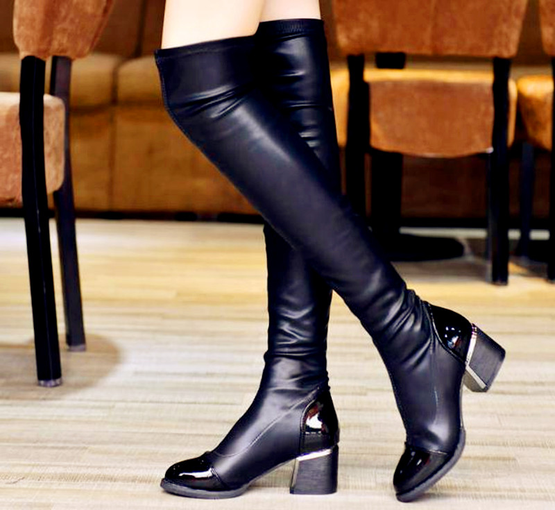 15..New Women boots Pu Sexy Fashion Knee Boots Sexy High Heel Boots Woman Shoes Black Boats Mujer boots size 35-40
