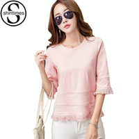 Christmas T Shirts Tassel T Shirt Women Tops 2017 Summer Pink Three Quarter T Shirt Female