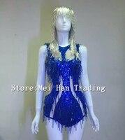 Сексуальное голубое стеклянное боди с кристаллами аксессуар с кисточками яркие блестки блестящее представление праздник костюм ночной кл