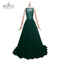 Teal Green Lange Prom Sexy Backless Avondjurken 2017 Transparant Kant Sweep Trein Tulle Lange Party Gown Custom Made