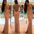 Sexy Sheer Back Crystal Beaded Long Mermaid Evening Dresses Criss-Cross Prom Gowns Deep V-neck Formal Women Party Dress 2017