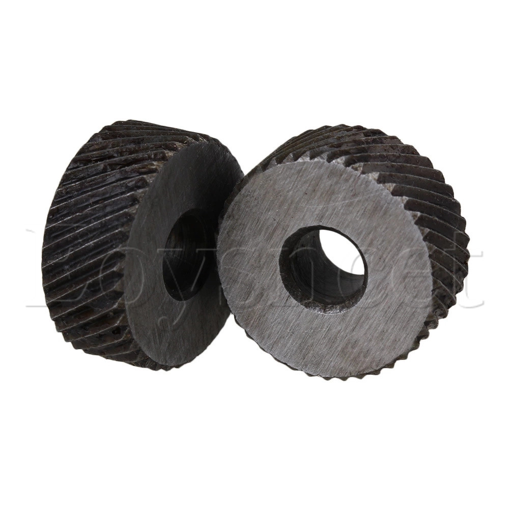 2 X Knurl Wheel Tool Diagonal Coarse Twill Pattern 8 X 19mm 1.2mm Pitch Roller