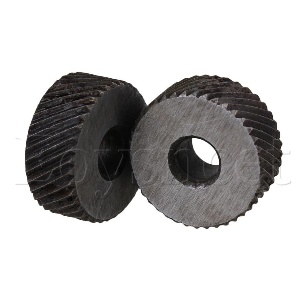 2 X Knurl Wheel Tool Diagonal Coarse Twill Pattern 8 X 19mm 1.2mm Pitch Roller