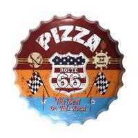 40cm Pizza Route 66 Beer Bottle Cap Vintage Art Poster Stickers Decor Iron Retro Tin Metal Signs Plaques