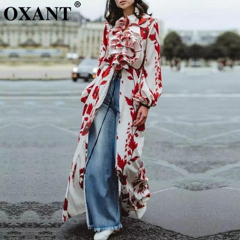 OXANT femmes imprimé longue robe Falbaled vacances robe avec des bretelles fendues niché sous la taille montre mince robe en mousseline de soie