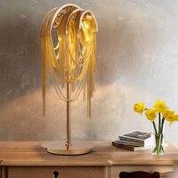 Постмодерн Роскошные творческий металл золотой кисточкой настольная лампа прикроватная G9 освещения спальня украшения искусства лампы