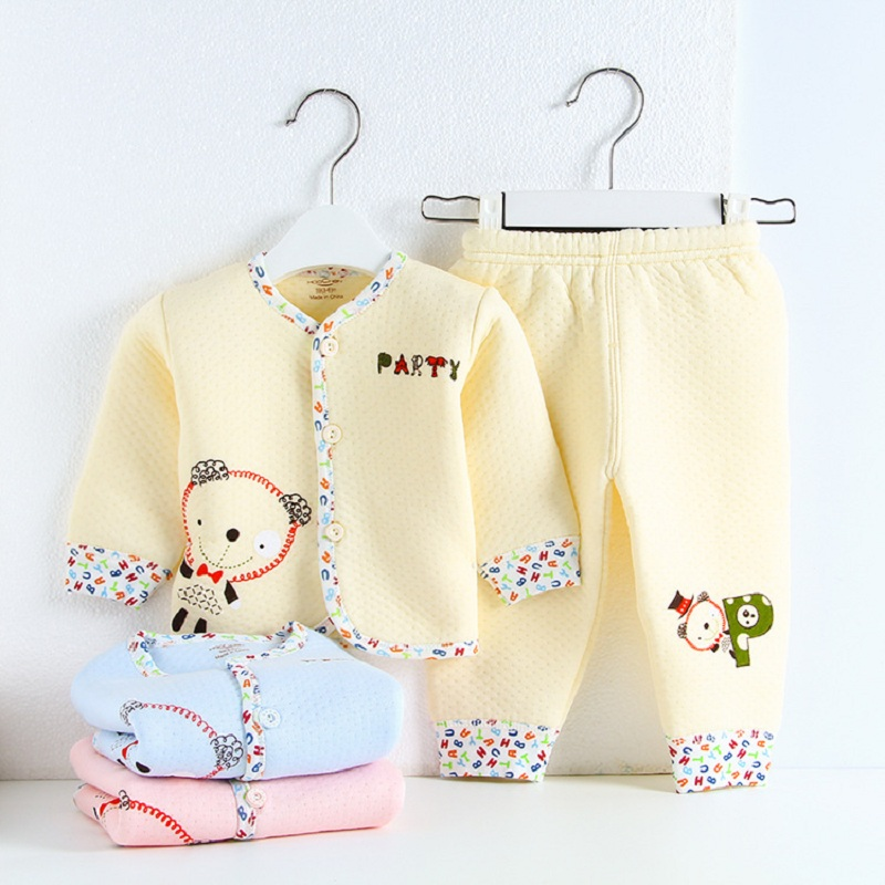 Free Shipping! New 2015 Spring-Autumn Long Sleeve Baby Clothing Set Kids warm Clothing Set cartoon Baby clothes 100% cotton warm thicken baby rompers long sleeve organic cotton autumn