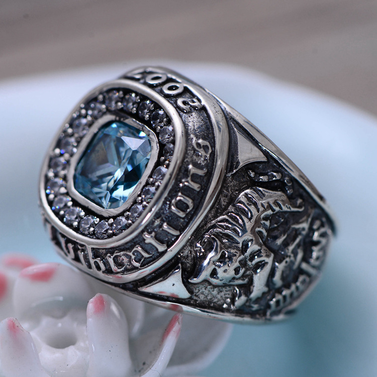 цена на S925 Seiko silver green dragon white tiger 2007 commemorative edition ring manhood domineering ring