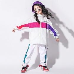 Хип-хоп танцевальные костюмы детские белый пиджак брюки мальчиков в стиле джаз уличный Одежда для танцев для девочек современном этапе