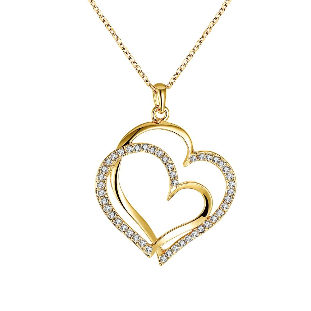 Beiver Fashion Double Heart CZ Necklace for Women White Gold Bijoux Femme Wedding Accessories Free Shipping