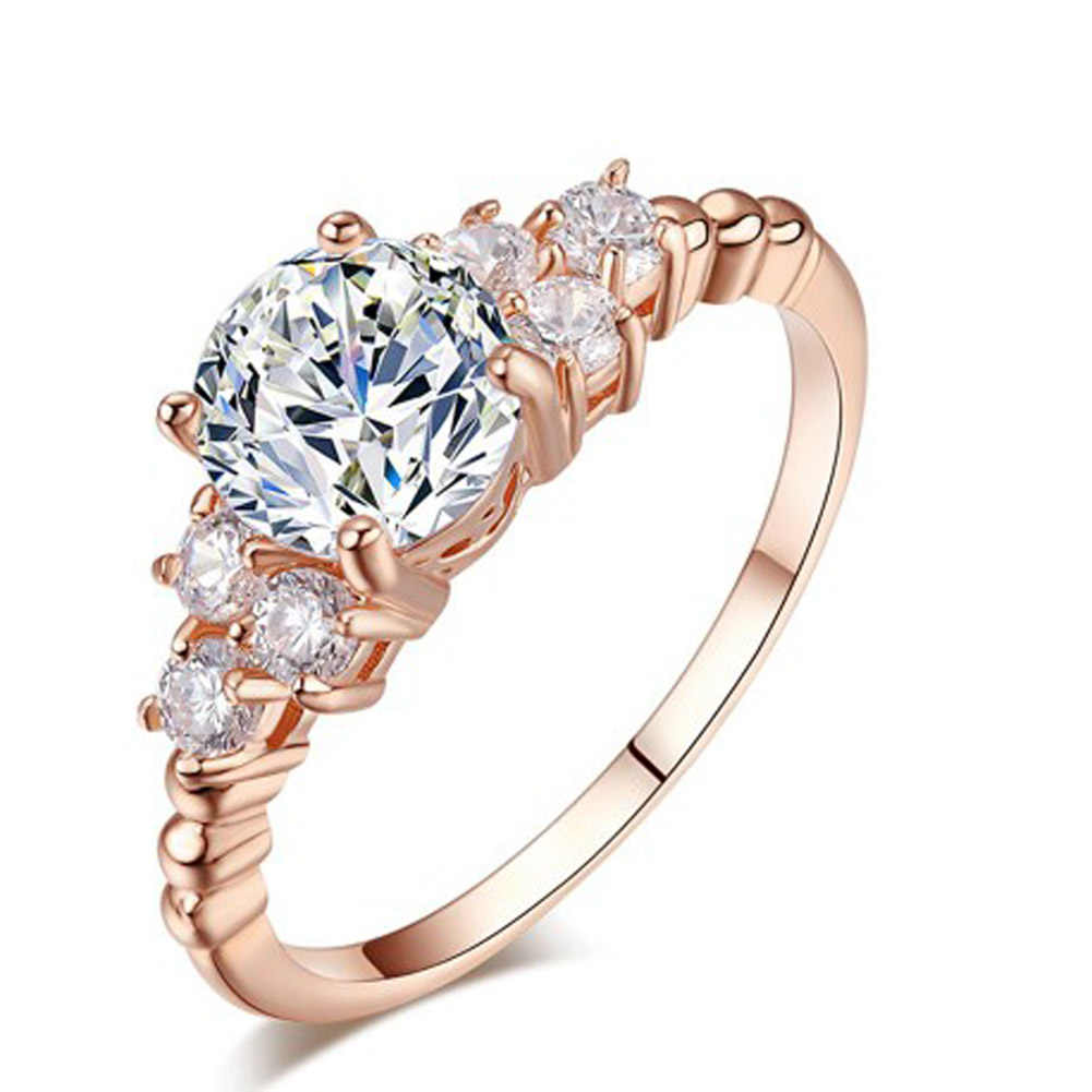 New Luxury Luxury แกะสลัก Filigree วง CZ Zircon ชุดแหวนสำหรับเครื่องประดับสตรีแฟชั่นขายส่ง Anillos ของขวัญ
